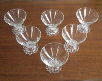 Set of 6 Vintage Boopie Berwick Crystal Sherbet Dessert Dishes by Anchor Hocking