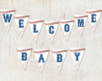 Printable Baseball Baby Shower Banner, Instant Download, Party Decor, Banners, Printables, DIY,  Baseball Event, Sports Party, Personalized