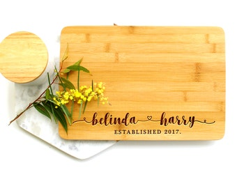Personalized Cutting Board, Custom Cutting Board, Engagement cutting board, Hand lettered Heart
