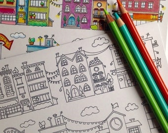 City Streets 5x7 Coloring Card
