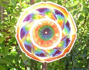 Garden Art hand painted Rainbow Glass Flower - Suncatchers - Recycled Glass Art - Glass Plate Flower - Outdoor Garden Decorations