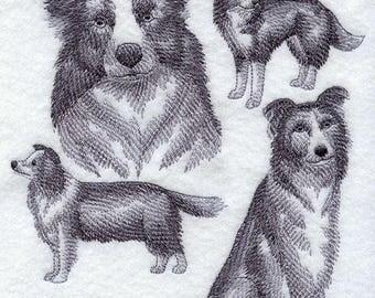 Border Collie Dog Embroidered Quilt Block Square Dog Sketch