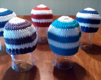Crochet Striped Beanie Cap Hat Sizes 0-12 months up to 3 Years