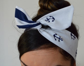 Anchor strip bow, Nautical bow, Blue Anchor Dolly bow Headband, hair bow head band