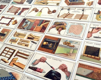 Vintage Household Hints cigarette cards, part set of 35 collectable cards, lots of old fashioned tips.