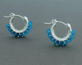 Caribbean Blue Swarovski Hoop Earrings, Sterling Silver hoop earring, Small hoop earring, Swarovski Caribbean Blue, Silver Delicate Earrings