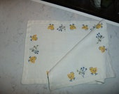 Vintage Swedish hand embroidered Easter table runner - Chickens in cross stitch