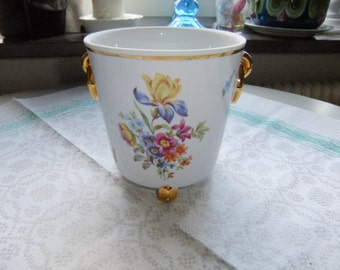Vintage Mid Century Beautiful Rococo planter - Flowers and gold - Made in Germany
