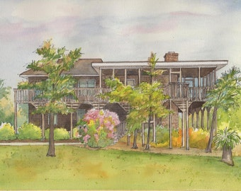 Your home painted in watercolor with ink detailing - Commissioned House Portraits - Watercolor architectural sketch