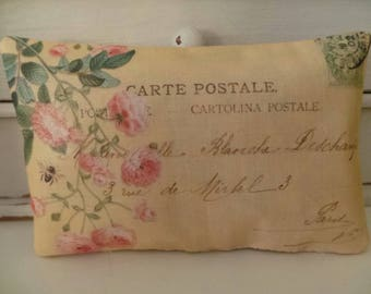 Decorative French postcards hand printed onto fabric and made into rose filled pillows,  rose petals, wedding day gift, wedding favours