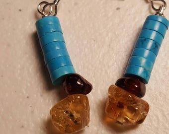 Citrine, Garnet, and American Turquoise earrings