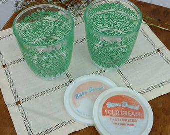 Vintage Pair of Half-Pint Bison Brand Sour Cream Jars / With Lids / Glasses / Buffalo, New York