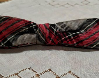 Vintage / Antique / Adult Sized Geek Chic Plaid Bow Tie / Bowtie / Red, Black, Gray, and White / Clip-On