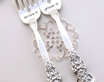 BRIDE & GROOM WEDDING Forks Cake Table Setting Decor Mr. and Mrs. Forks Hand Stamped - Silver Renaissance 1971 - Ready To Ship