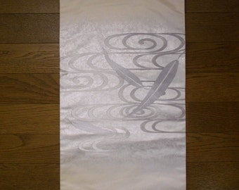 SALE 50%off!! - Vintage obi - Bamboo leafs and water flow, Creme white