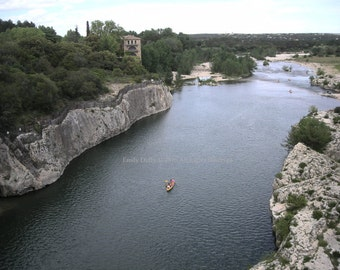 Original Photograph (Matted): Boats On The Gardon River - Southern France