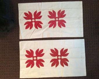 Pair of antique appliqué pillowcases, ca. 1850