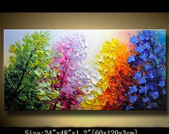Abstract Wall Painting,Palette Knife Abstract Painting, Textured Painting,,Landscape Painting ,Park Lights Painting  on Canvas, by Chen 0315