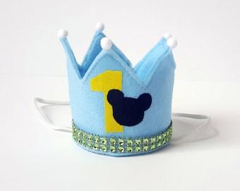 Mini Birthday Crown.  Baby Mickey Mouse Inspired Birthday.  Unisex Mini Crown Headband. First Birthday. 1st Birthday Cake Smash.