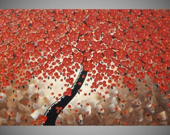 Tree Painting Art Acrylic Paintings Large Canvas Wall Art Textured Red Cherry Tree 48 x 24 Abstract 3D Flower Decor MADE TO ORDER by ilonka