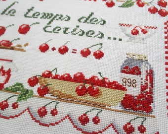 Vintage french alphabet sampler, Red  Abecedaire 1998, Antique decor, Embroidery