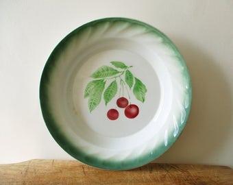 Antique french big dish, Vintage bowl, Cherry, Plat décor cerises, France, 1930