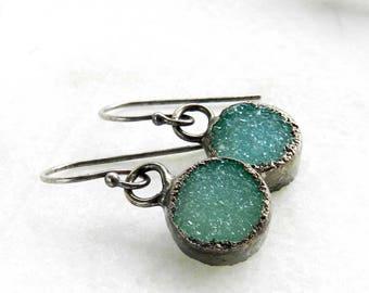 SALE druzy earrings, round druzy earrings, silver earrings, druzy dangle earrings, minimalist, dangle earrings, sterling silver