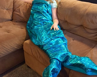 Mermaid Fishtail Blanket  Blue Scales Adult Size