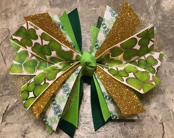 St. Patrick's Day Hair Bow - Leprechaun Hair Bow - St Patricks Day Bow - Shamrock Hair Bow - St. Patty's Day Hair Bow -  St Pattys Day Bow