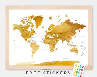 Watercolor gray countries world map art print poster travel world map art print poster watercolor brown gold political map capitals usa states travel gumiabroncs Images