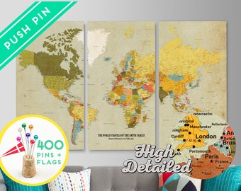 Personalized World Map Canvas Push Pin Map - Set 3 CANVAS - Ready to Hang - 240 Pins + 198 World Flag Sticker