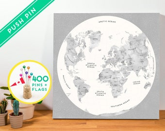 Push Pin World Map Canvas Map Watercolor Gray - Gift idea - Ready to Hang - 240 Pins + 198 World Flag Stickers included