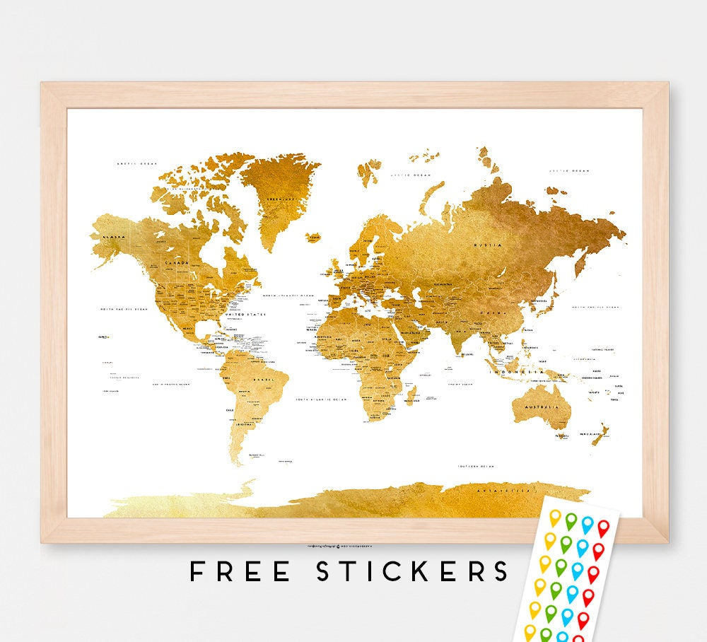 Brown World Map Etsy - Poster map of usa