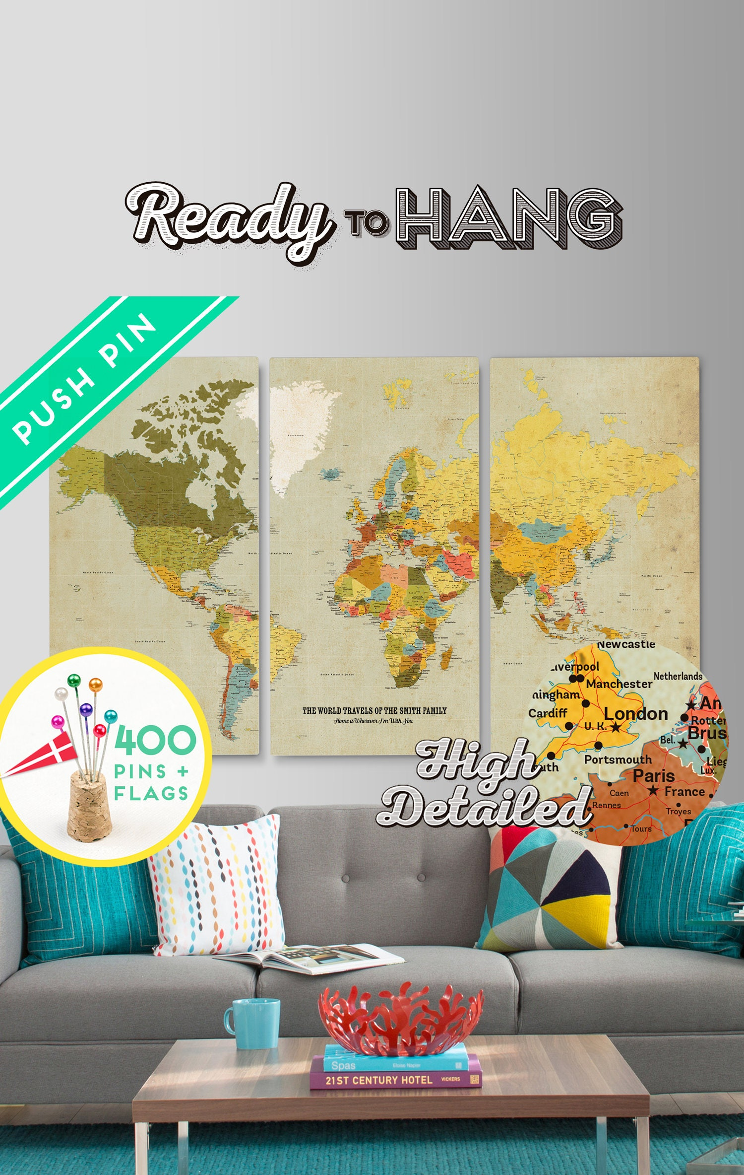 Personalized world map canvas push pin map set 3 canvas ready to personalized world map canvas push pin map set 3 canvas ready to hang gumiabroncs Images