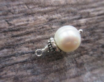 Freshwater White Pearl Dangle charm, 10mm baroque pearl sterling silver bead cap, wire wrap earring charm, necklace charm, June Birthstone