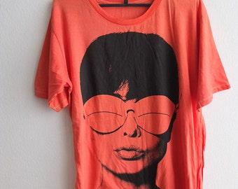 Audrey Hepburn Film Actress Icon Pink T-Shirt L