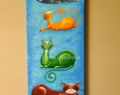 "Original Painting for Sale : Fantasy Cats  ""Colourful Kitties"" , acrylic, canvas"