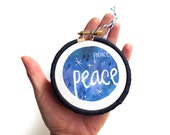 Religious Ornaments, Biblical Quote, Names of God Ornament, Embroidery Hoop Art, Prince of Peace, Christmas Embroidery, Seasonal Decor