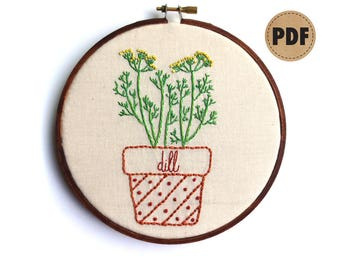 Dill Embroidery Design, Herb Art, PDF Embroidery Pattern, Kitchen Wall Art, Gardener Gift, Potted Herbs, Plant Lover, Digital Download, DIY
