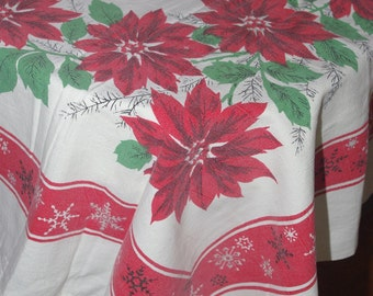 Vintage 1950s | Christmas Cotton Tablecloth | Mid-Century holiday tablecloth featuring poinsettias and snowflakes | 47 x 63 inches