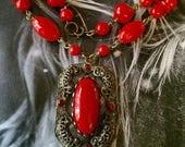Game Thrones Necklace, 1930 1940 vintage renaissance Bridal Wedding Czech Lipstick Red Pendant Fairytale Fantasy
