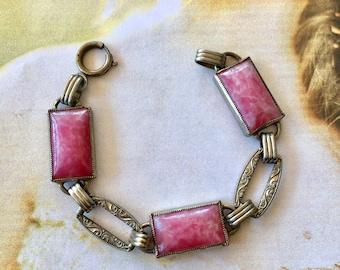 Pink Czech Bracelet 1930's Art Deco Nouveau Peking Glass Panel