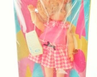 "ON SALE 1967 Uneeda Debteen Toddler Doll Unopened In The Original Box, 19"" Wispy Walker, Walking Doll, Strawberry Blonde, Blue Sleep Eyes, D"