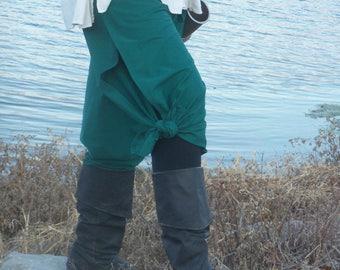 WRAP PANTS Teal green Pirate Pants Gypsy LARP Renaissance pants & bag