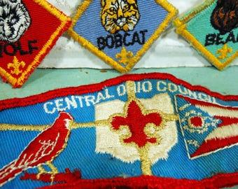 Vintage Boy Scout Cub Scout Patches Set of Four, Council Patch, Bear, Wolf, and Bobcat