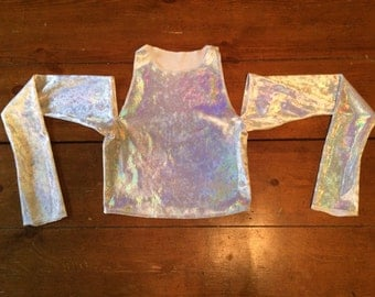 MADE TO ORDER: Holographic velvet cold shoulder crop top; party top; ice queen; snow princess; white velvet holiday