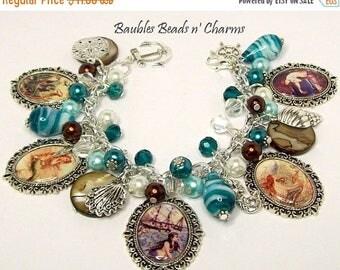 ON SALE Mermaid Charm Bracelet, Mermaid Jewelry, Ocean Beach Charm Bracelet, Ocean Beach Jewelry, Mermaid Charm necklace, Mermaid Necklace