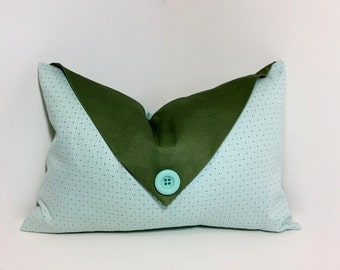 Decorative flap lumbar pillow cover, olive green aqua decor. button envelope flap. Aqua lumbar pillow. embellished home decor