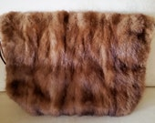 Vintage Antique Brown Real Mink Fur Hand Warmer Muff Mid Century Hollywood Glamor Real Mink Fur Hand Warmer Muff Real Fur Hand Warmer Muff