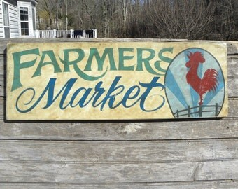 "Farmers Market Sign, original , hand painted. ""faux"" vintage, sign,art,wooden sign ZF FM 17.5"